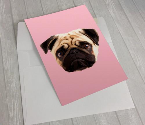 Fawn Pug on Yellow Greeting Card