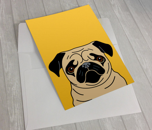 Fawn Pug on Yellow Greeting Card