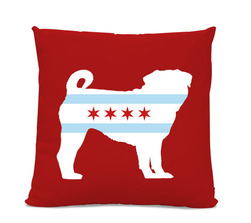 Chicago Flag Pug Red Pillow