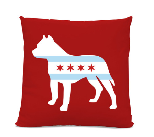 Chicago Flag Pitbull Red Pillow