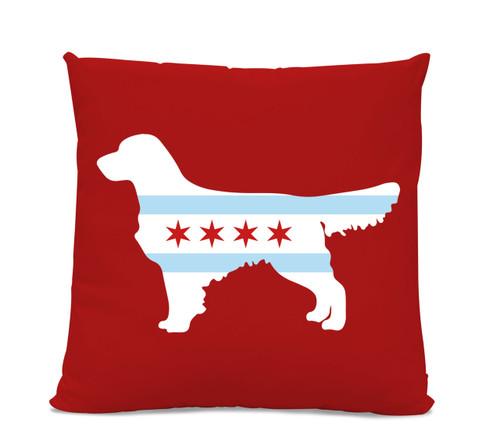 Chicago Flag Golden Retriever Red Pillow