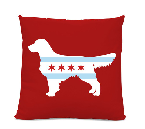 Chicago Flag Golden Retriever Red Pillow