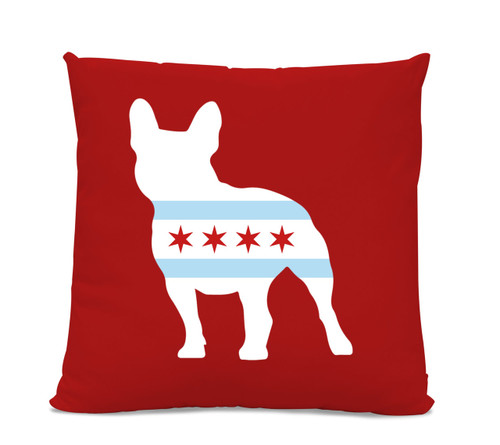 Chicago Flag French Bulldog Red Pillow