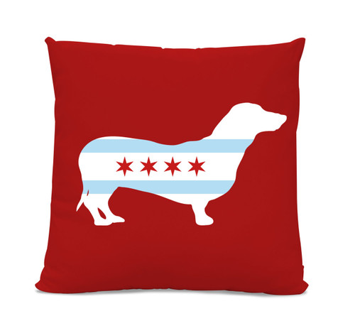 Chicago Flag Dachshund Red Pillow