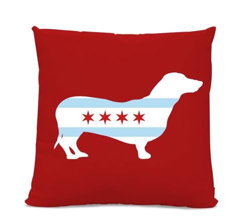 Chicago Flag Dachshund Red Pillow