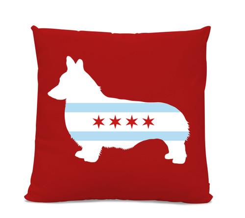Chicago Flag Corgi Red Pillow