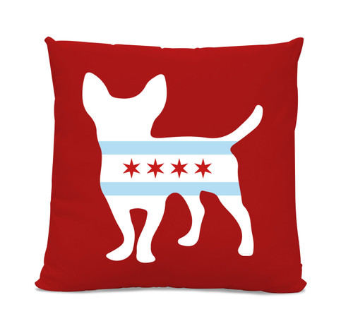 Chicago Flag Chihuahua Red Pillow