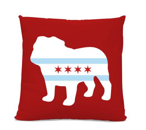 Chicago Flag Bulldog Red Pillow