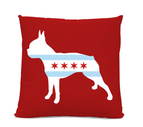 Chicago Flag Boston Terrier Red Pillow