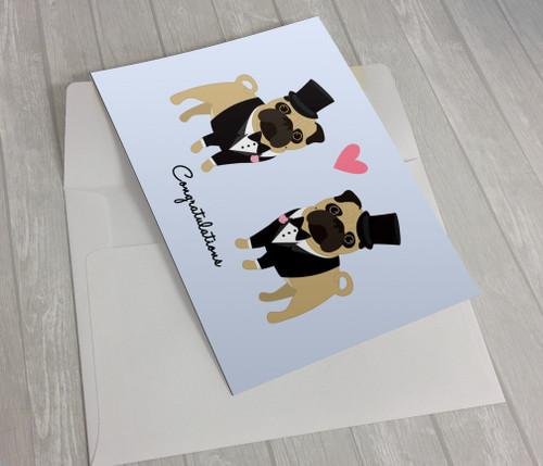 Wedding Pugs 2 Grooms Greeting Card