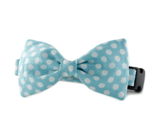 Dog Bow Tie Accessory in Ice Blue Dot