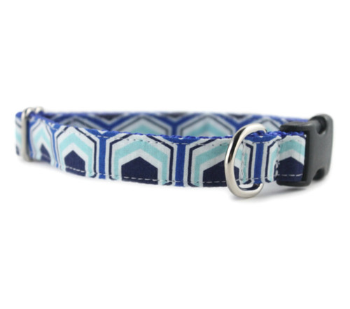 Blue Hexagon Dog Collar