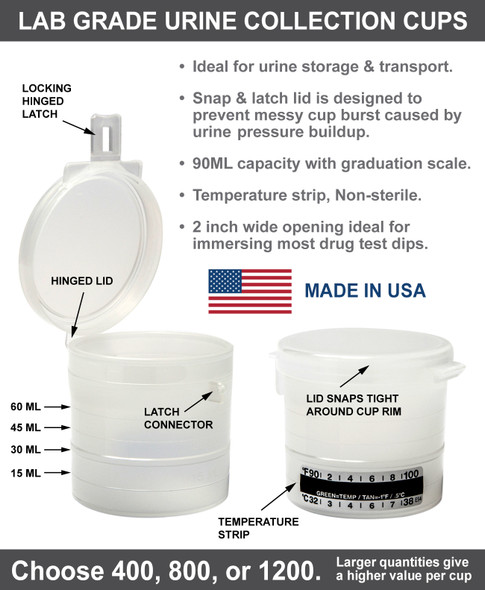 Snap Lid Urine Collection Cups 90 ML non sterile - Flip Top with hinged latch - Cup Information - Made in USA