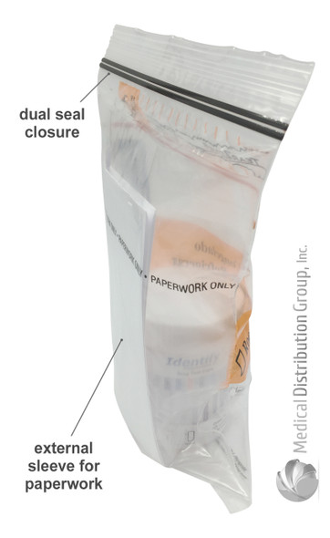 Lab Guard Specimen Bags for Drug Testing - External Sleeve For Paperwork and Dual Seal for leak protection