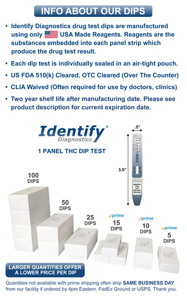 Identify Diagnostics 1 Panel THC Drug Test Dip Card - DIP FACTS INFO - Medical Distribution Group