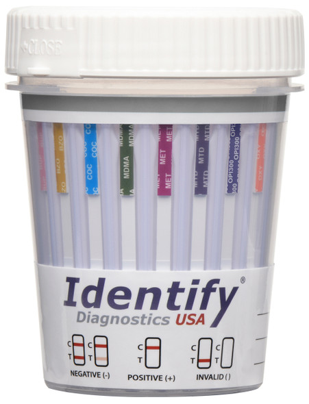 Identify Diagnostics USA - 12 Panel Drug Test Cup with BUP - CLIA Waived, FDA Cleared, OTC Cleared