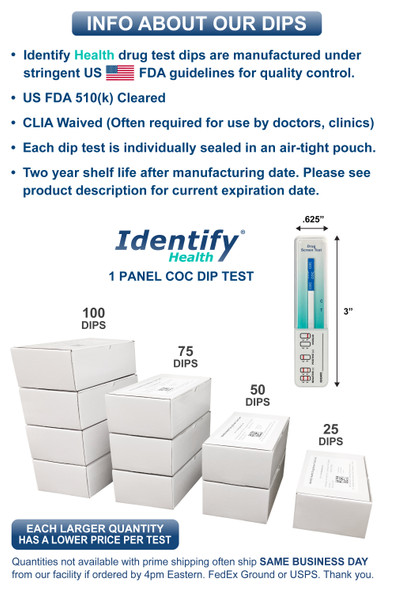 Identify Health COC Cocaine Drug Test Dips - DRUG TEST INFO - Medical Distribution Group