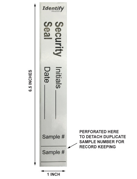 Security Seal Sticker Labels - Specification and Perforation location for sample ID record keeping  - Identify Health