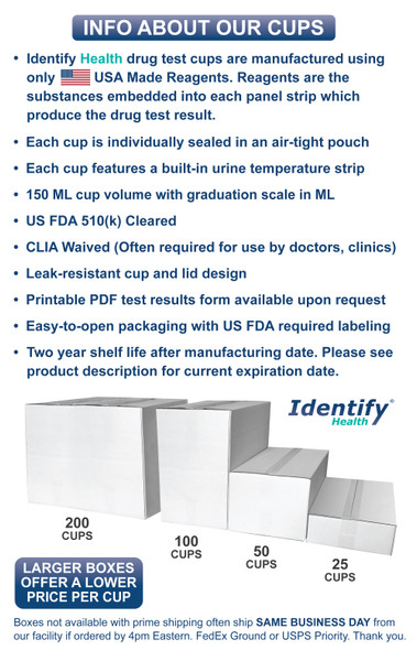 Identify Health Drug Test Cups - CUP FACTS