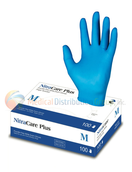 NitraCare Plus 100 - Power-Free Non-Sterile Nitrile Examination Gloves - 1000 gloves per case