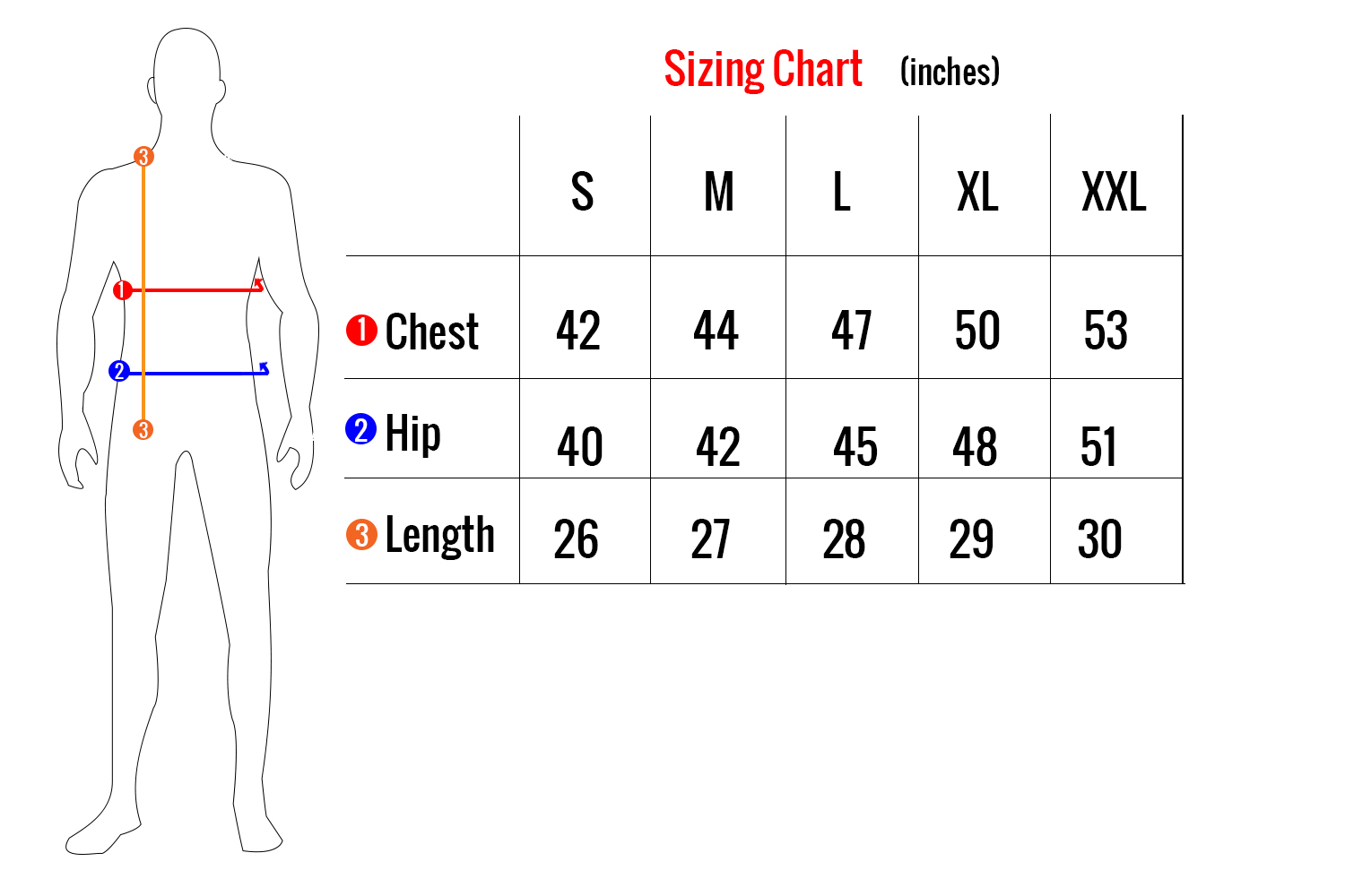 Men's  Heated Insulated Jacket Sizing Chart BH1670