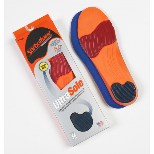 Ultra Sole® Performance Insoles absorb shock, return energy and provide long lasting comfort. The Ultra Sole™ combines a molded air-infused base with a pure Sorbothane® heel inlay for shock absorbing comfort and impact protection. Strategically placed forefoot pad works to return energy.