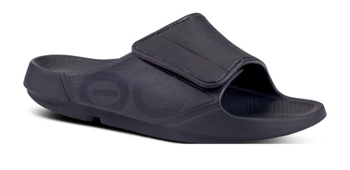Oofos Unisex OOahh Sport Flex Sandal- Black Matte