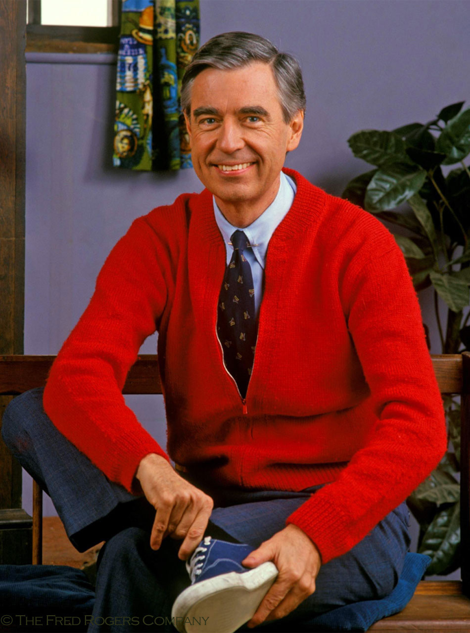 Mister Rogers Red Cardigan Sweater Iconic Beautiful Day Sweater By Inca Fashions For Mr Rogers Neighborhood Sun Valley Alpaca Co