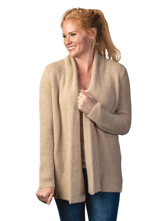Inca Fashions Lady's Willow Baby Alpaca Cardigan Sweater Front