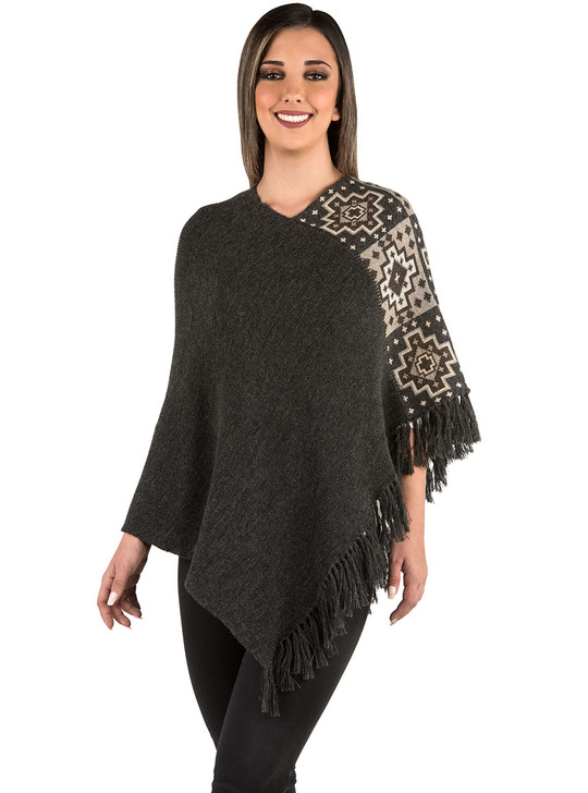 Canyon Ranch Baby Alpaca Poncho Front on model