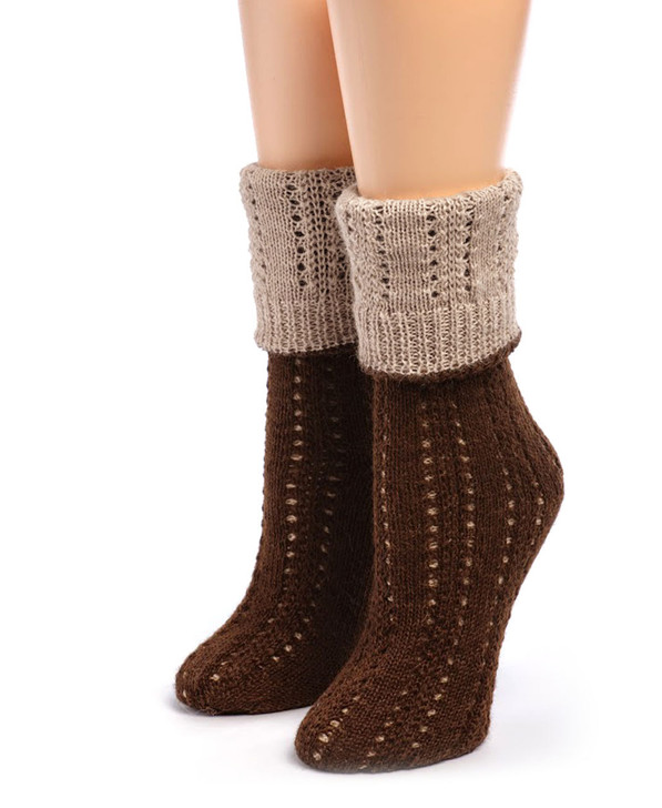 Reversible Hand Knit 100% Alpaca Socks Main