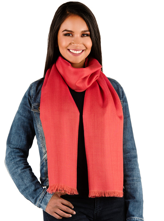 Women's Oversized Scarf & Shawl in 100% Baby Alpaca Wool & Silk - Imperial Red on Model