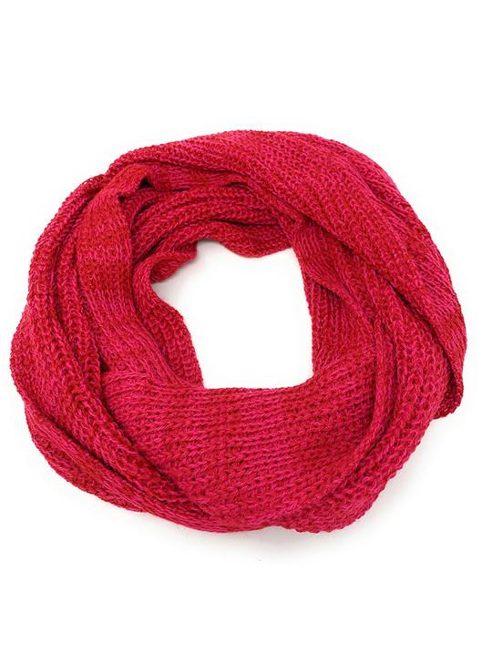 100% Baby Alpaca Circular Infinity Scarf Snood Strawberry Circular scarf flat