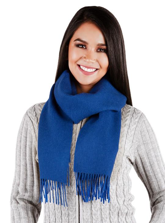 Solid Color Scarf - 100% Baby Alpaca Wool - Blue Sky on Woman Model
