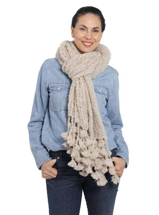 Boucle Shawl & Scarf Tied in Front Style