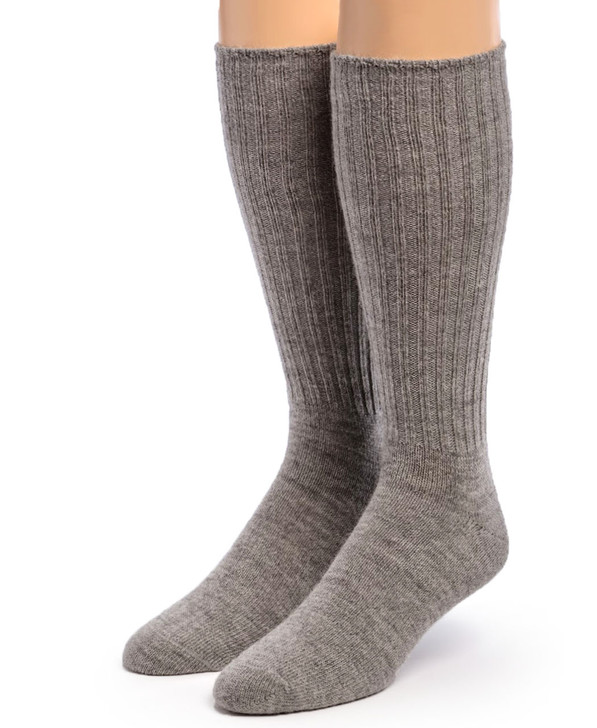 Ribbed Casual 100% Alpaca Wool Socks -Natural Flannel Gray Front