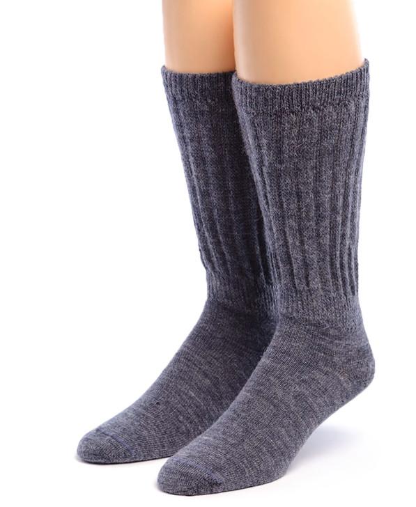 Therapeutic 100% Alpaca Wool Socks - Denim Front