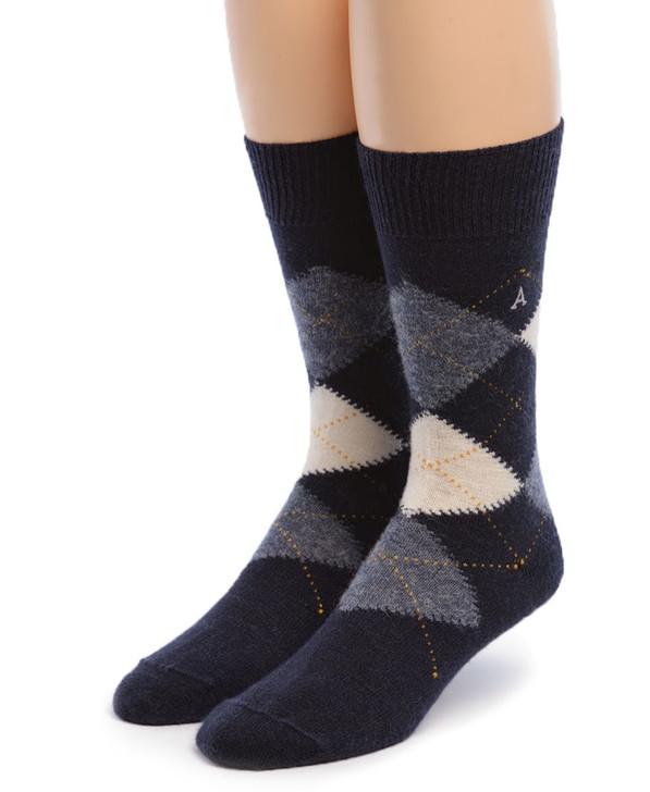 Baby Alpaca Argyle Socks Front Blue Argyle