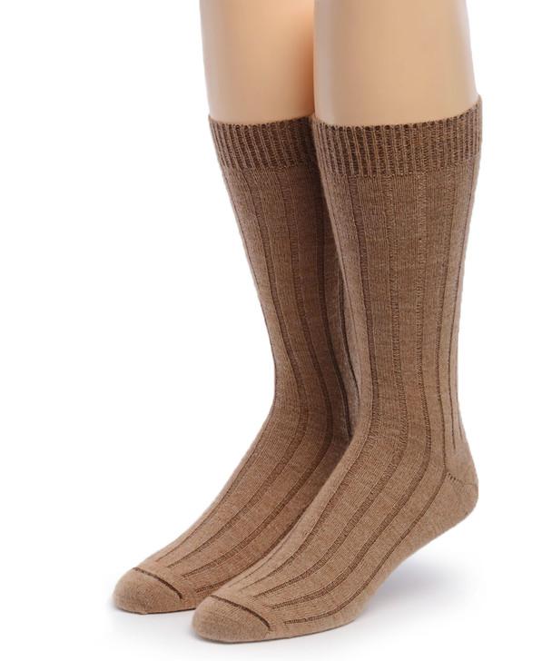 Men's Alpaca Ribbed Dress Socks  Front Fawn/Camel
