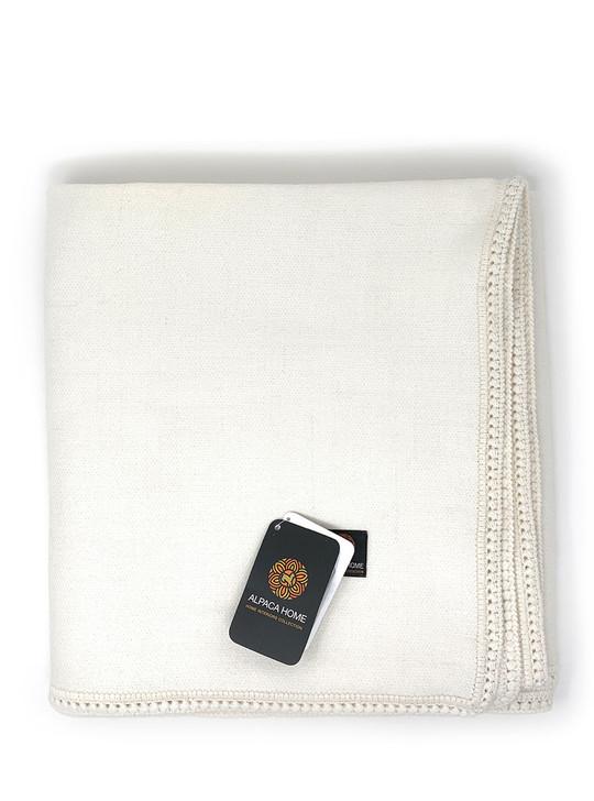Alpaca Wool Bed Blanket  Natural White