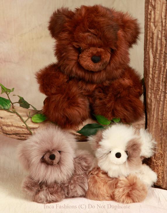"Baby Alpaca Chubby Sitting Bear 9"" and 5"""