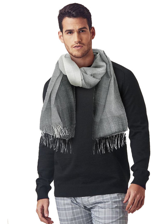 Men's Explorer Travel Scarf  in 100% Baby Alpaca Wool Galaxy black and grey On Model