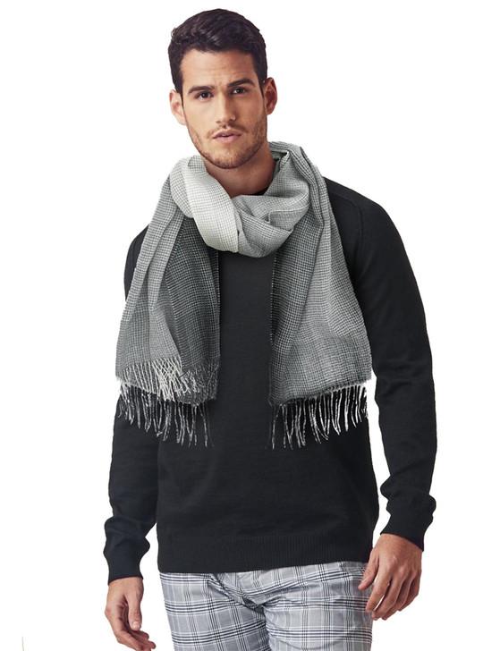 Men's Explorer Travel Scarf  in 100% Baby Alpaca Wool Galaxy black and grey On Model