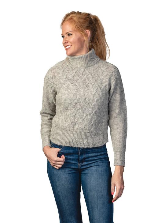 Eira Women's Alpaca Basketweave Turtleneck Sweater  Front