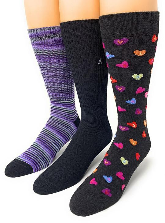 Warrior Alpaca Socks Sweetheart Gift Box styles shown on feet.