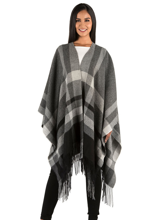 Talk of the Town 100% Baby Alpaca Wool Blanket Shawl & Travel Wrap  Model Front