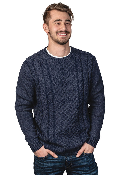 Alpaca Blend Cable Crew Neck Two-Tone Pullover Sweater Blue Carbon - Main