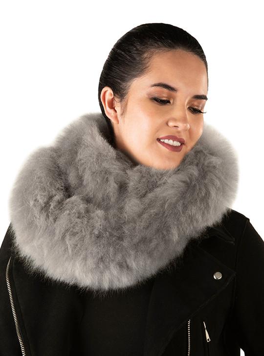 Natural Baby Alpaca Fur Infinity Scarf Looped Twice - Grey