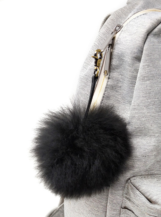 Alpaca Fur Fluff Ball - Pom Pom Key Fob -Black on Bag
