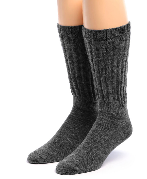 Wide Calf - Extra Wide Crew 100% Alpaca Wool Socks - Grey Front
